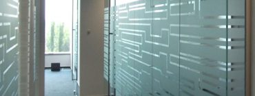office with privacy film on windows
